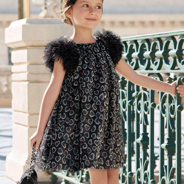 Čierne šaty Abel & Lula so srdiečkami a nariasenými rukávmi | Welcomebaby.sk