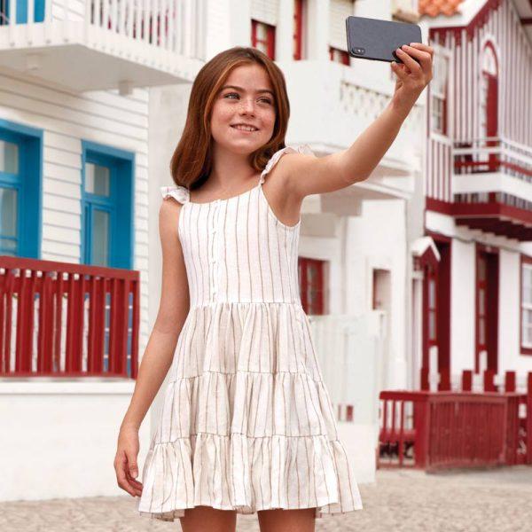 Dievčenské šaty pruhované krémové Mayoral   Welcomebaby.sk