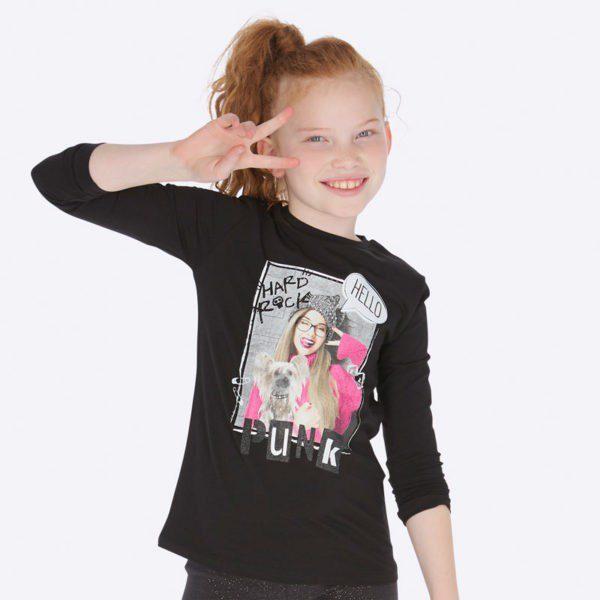 Dievčenské tričko s potlačou dievčaťa Mayoral čierne Hard Rock Punk | Welcomebaby.sk