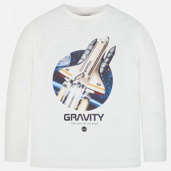 Bavlnené tričko s dlhým rukávom s potlačou raketa Mayoral | Welcomebaby.sk