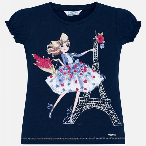 Tričko s dámou Mayoral a potlačou Paríž tmavomodré | Welcomebaby.sk