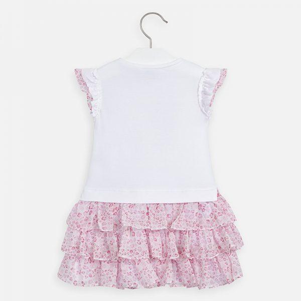 Šaty s volánmi a postavičkou Mayoral bielo-ružové | Welcomebaby.sk