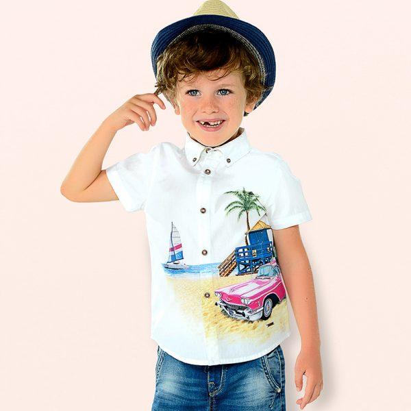 Bavlnená košeľa s krátkym rukávom a potlačou auta Mayoral | Welcomebaby.sk