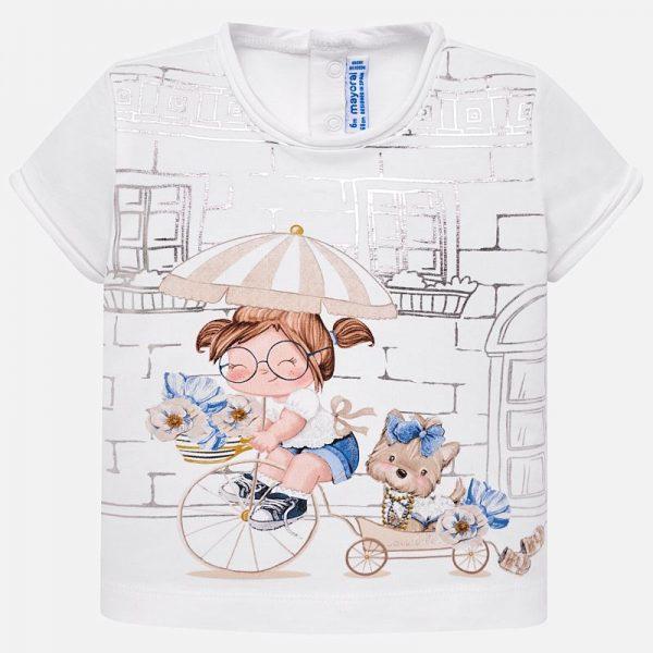 Bavlnené tričko s dievčatkom a psíkom Mayoral | Welcomebaby.sk