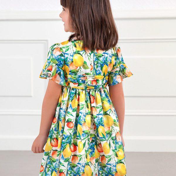 Šaty s citrónmi a volánovými rukávami Abel&Lula | Welcomebaby.sk