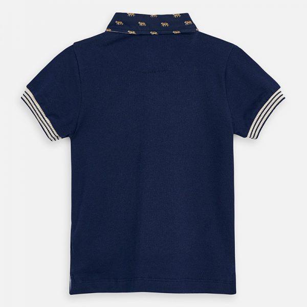 Chlapčenské polo tričko Mayoral tmavomodré golier potlač tiger | Welcomebaby.sk
