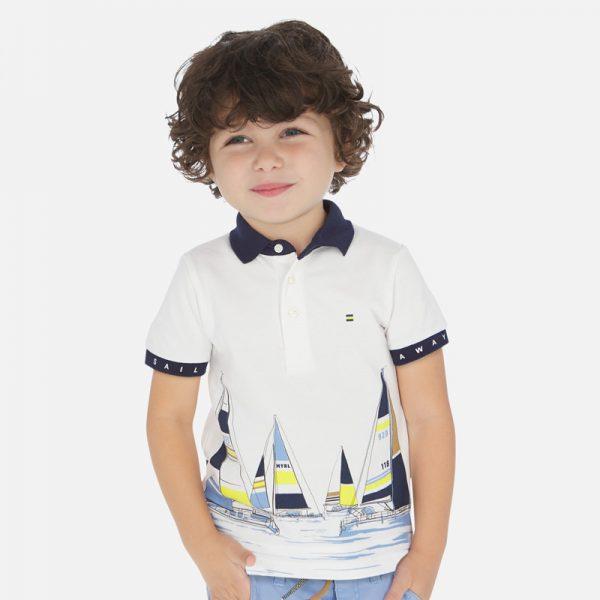 Polo tričko s jachtami biele Mayoral | Welcomebaby.sk