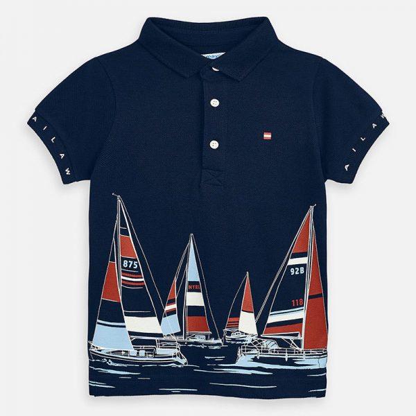 Polo tričko s jachtami tmavomodré Mayoral | Welcomebaby.sk