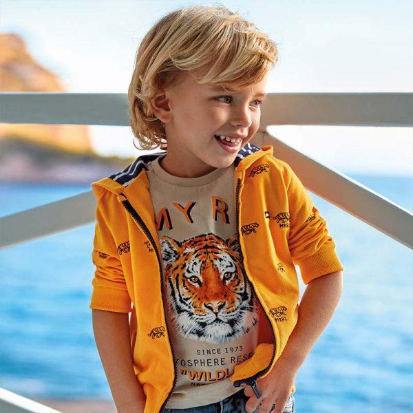 Chlapčenská mikina s kapucňou Tiger Mayoral žltá | Welcomebaby.sk