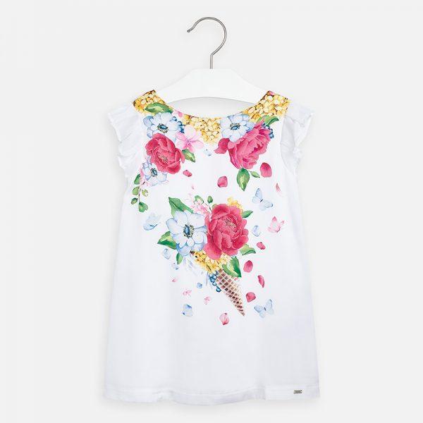 Saténové šaty s ružovými kvetmi Mayoral   Welcomebaby.sk