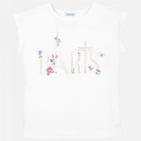 Bavlnené tričko s nápisom Paríž biele Mayoral | Welcomebaby.sk