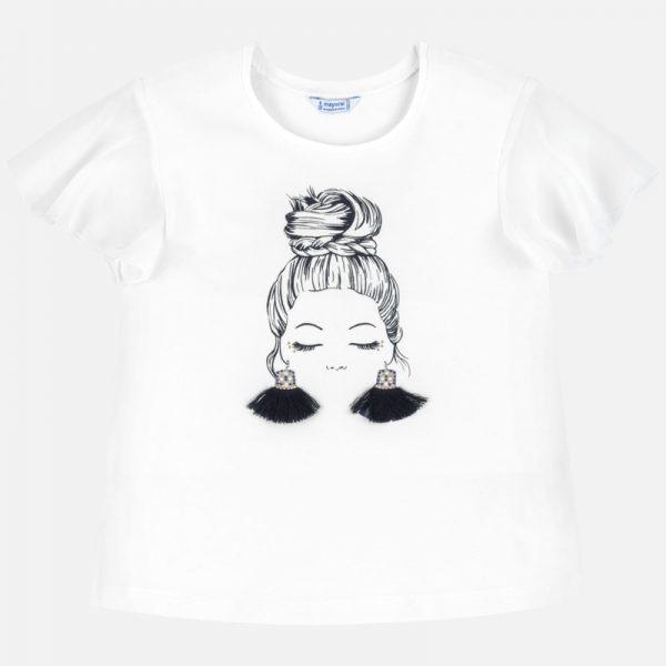 Bavlnené tričko s dievčaťom a vzdušnými rukávmi Mayoral | Welcomebaby.sk