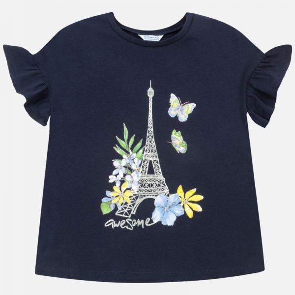 Bavlnené tričko s potlačou Eifelovky a volánovými rukávmi Mayoral | Welcomebaby.sk