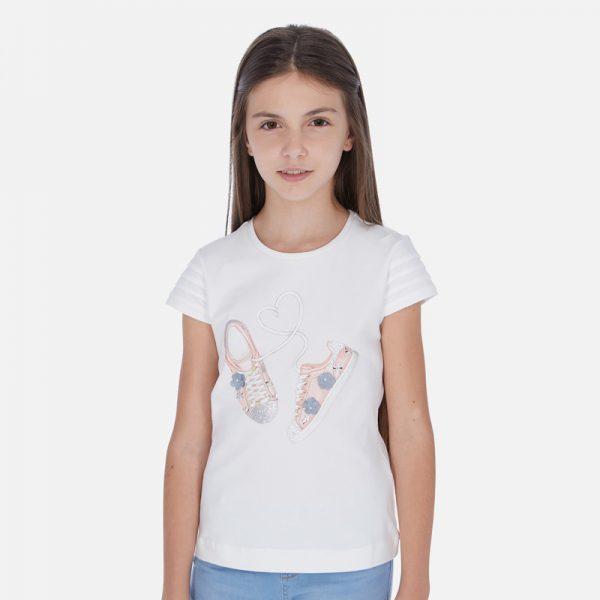 Dievčenské bavlnené tričko s potlačou topánky Mayoral | Welcomebaby.sk