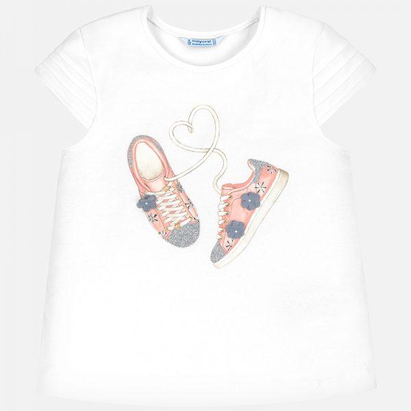 Bavlnené tričko s potlačou topánky Mayoral | Welcomebaby.sk