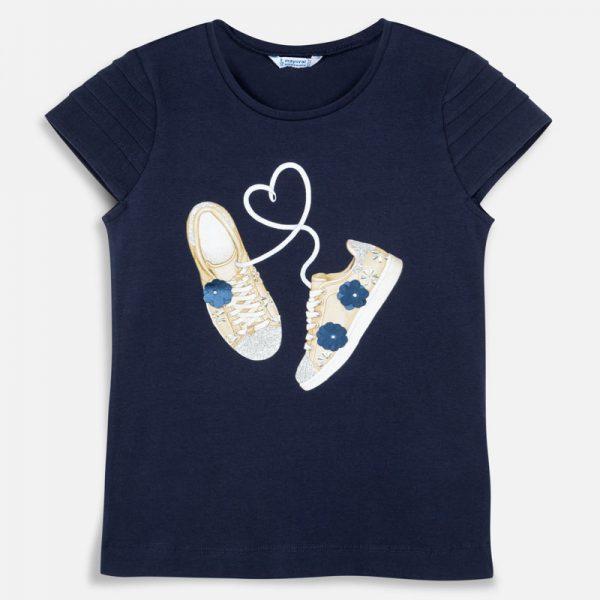 Bavlnené tričko s potlačou topánky tmavomoré Mayoral | Welcomebaby.sk