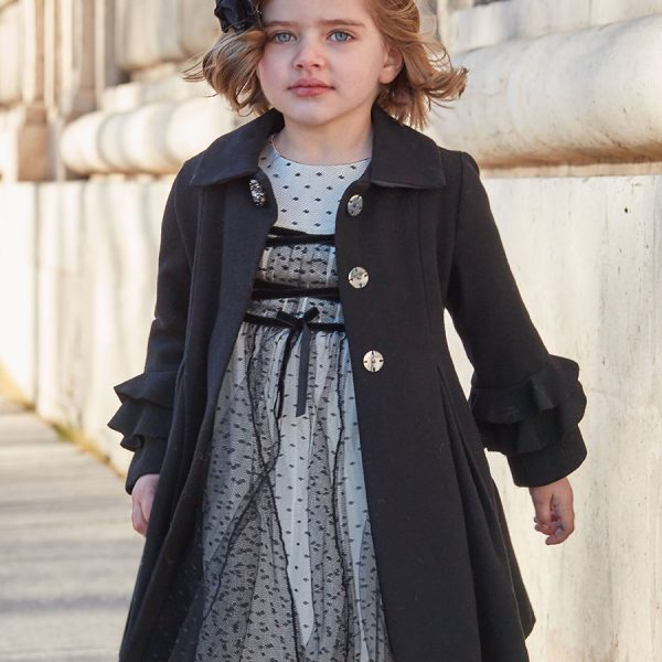 Čierny vlnený kabát | Welcomebaby.sk
