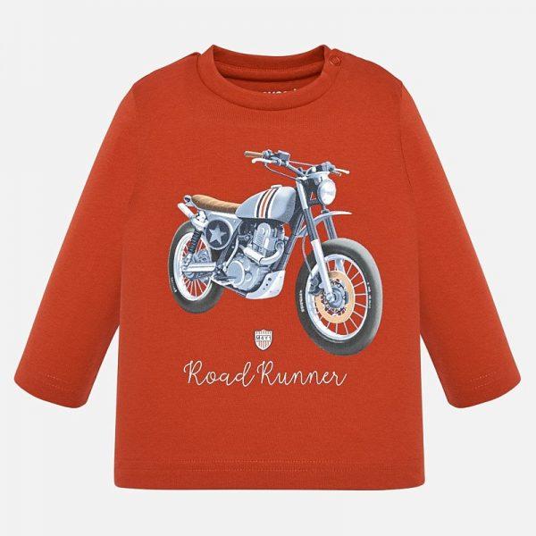 Chlapčenské tričko s potlačou Motorka a nápisom road Runner Mayoral oranžová | Welcomebaby.sk