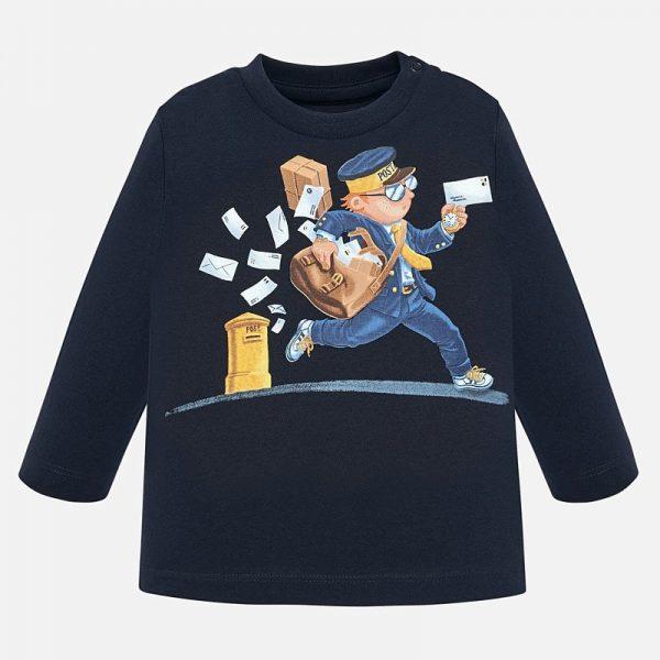 Chlapčenské tričko s potlačou poštár Mayoral tmavomodré | Welcomebaby.sk