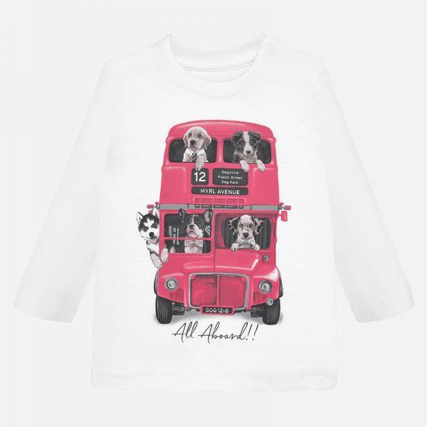 Chlapčenské tričko s potlačou auto a pes Mayoral biele | Welcomebaby.sk