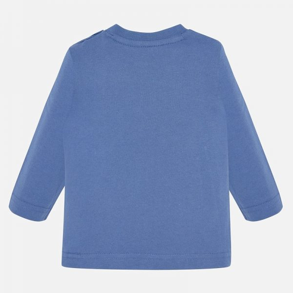 Chlapčenské tričko s potlačou Medveď v zime Mayoral modré | Welcomebaby.sk