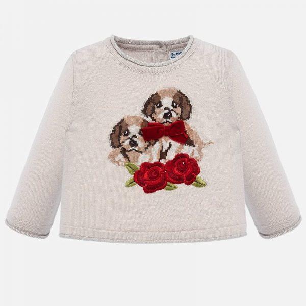 Dievčenský sveter so psíkmi a kvetom Mayoral béžový | Welcomebaby.sk