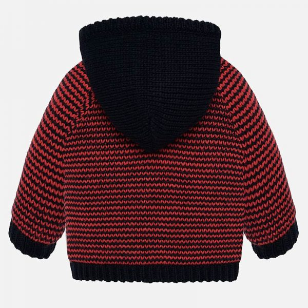Chlapčenský zateplený sveter s odopínateľnou kapucňou Mayoral červený | Welcomebaby.sk