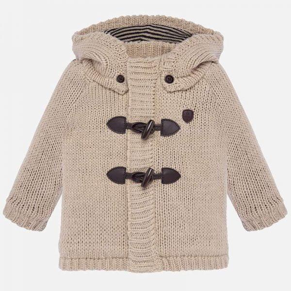 Chlapčenský zateplený sveter s odopínateľnou kapucňou Mayoral hnedý | Welcomebaby.sk