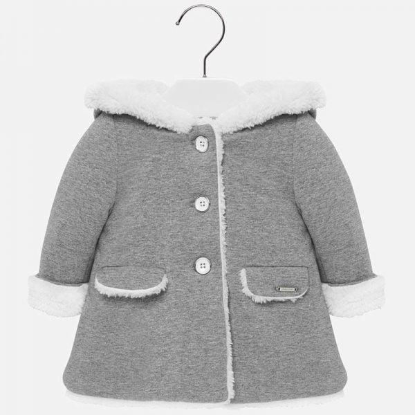 Dievčenský kabát s kapucňou Mayoral šedý | Welcomebaby.sk