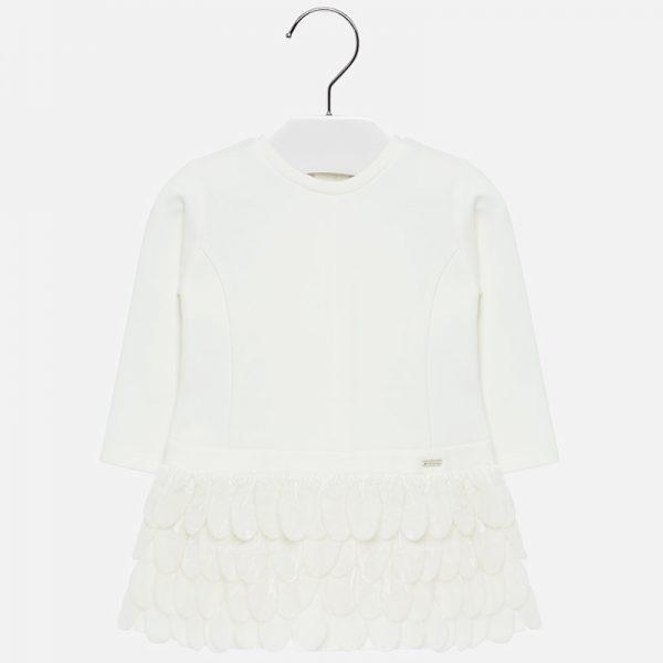 Šaty s látkovými pierkami Mayoral biele | Welcomebaby.sk