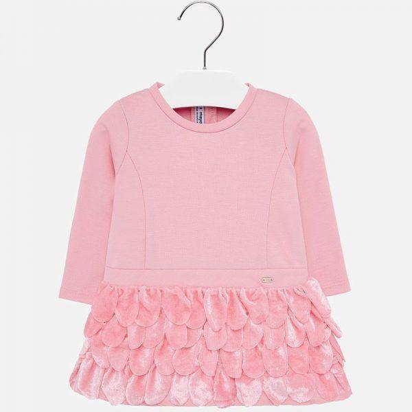 Šaty s látkovými pierkami Mayoral ružové | Welcomebaby.sk