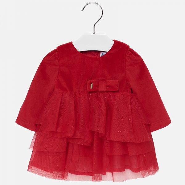 Sametové šaty s mašľou Mayoral červené | Welcomebaby.sk