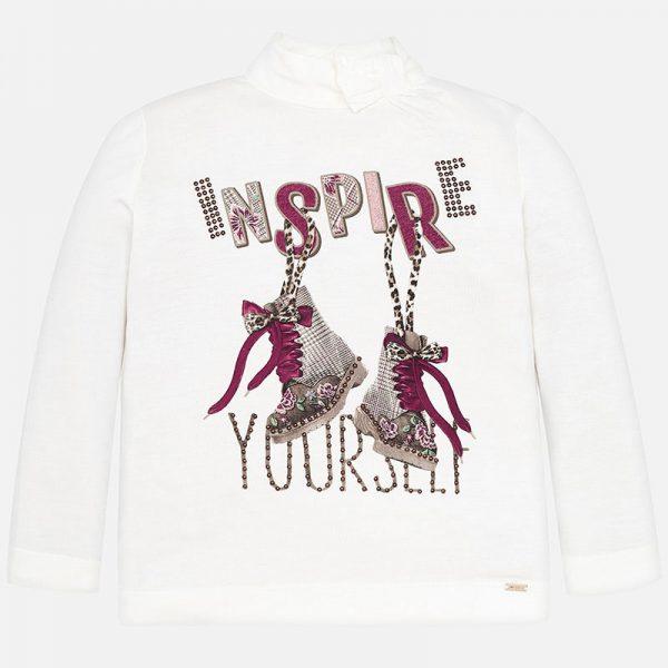 Dievčenské tričko s nápisom Inspire a potlač topánok Mayoral | Welcomebaby.sk