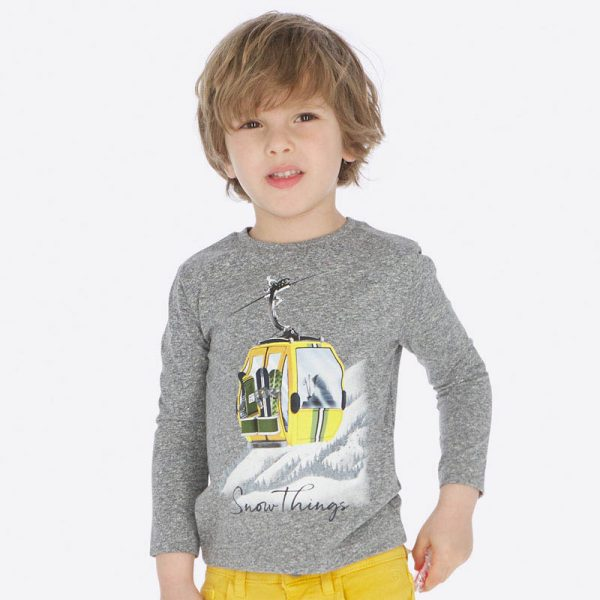 Chlapčenské tričko so zimnou kabínkou Mayoral šedé | Welcomebaby.sk