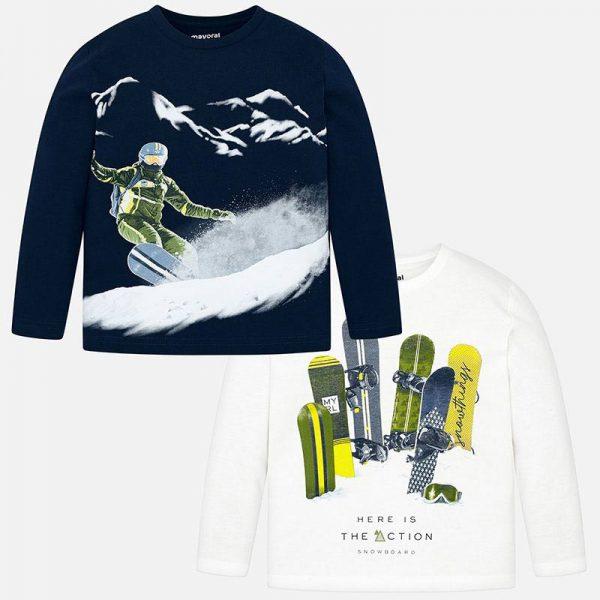 2pack chlapčenských tričiek s potlačou Snowboard Mayoral | Welcomebaby.sk