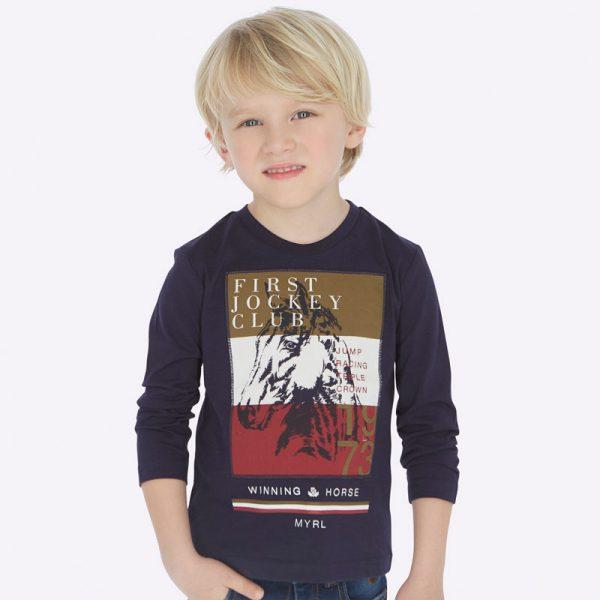 Chlapčenské bavlnené tričko s dlhým rukávom s koňom Mayoral modré | Welcomebaby.sk