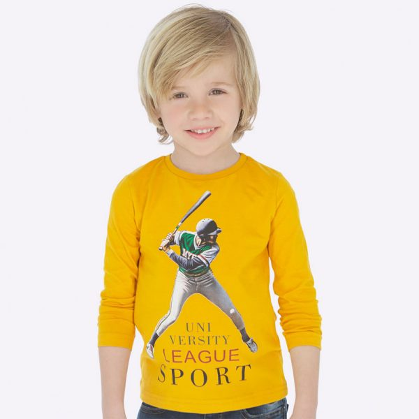 Chlapčenské tričko s potlačou Baseball Mayoral žlté | Welcomebaby.sk
