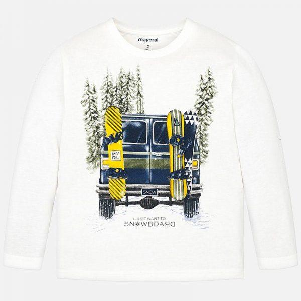 Chlapčenské tričko auto a snowboard Mayoral biele | Welcomebaby.sk