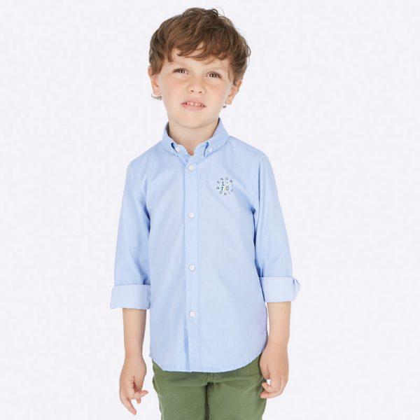 Chlapčenská bavlnená košeľa s golierom na zapínanie Mayoral modrá | Welcomebaby.sk