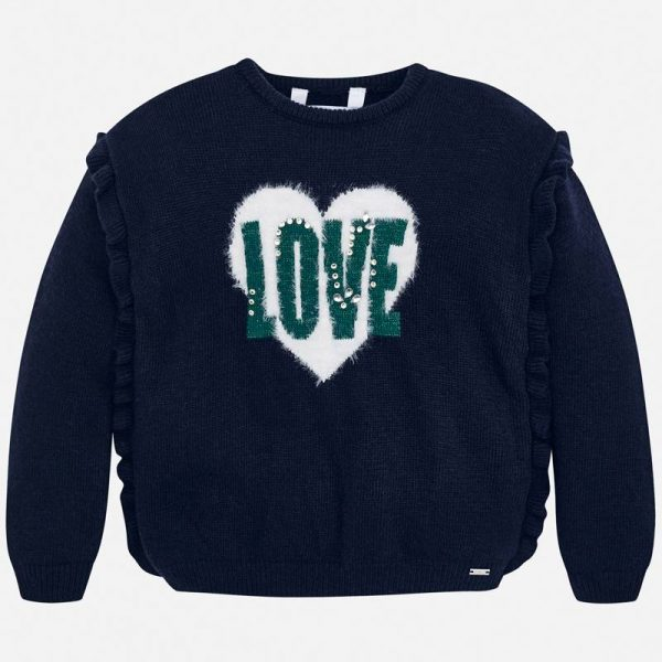 Dievčenský sveter s nápisom LOVE Mayoral tmavomodrý | Welcomebaby.sk