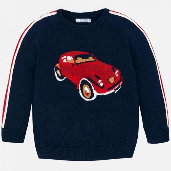 Chlapčenský pletený sveter s autom Mayoral modrý | Welcomebaby.sk