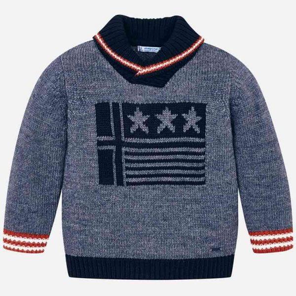 Chlapčenský pletený sveter Mayoral modrý | Welcomebaby.sk