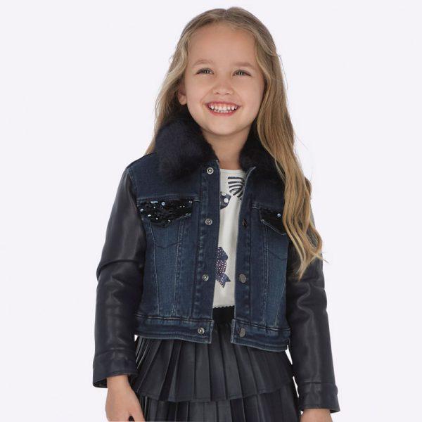 Dievčenská rifľová bunda s koženkovými rukávmi Mayoral | Welcomebaby.sk
