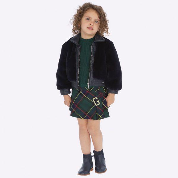 Károvaná sukňa s trakmi Mayoral zelená | Welcomebaby.sk