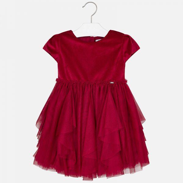 Šaty s nariasenou tylovou sukňou Mayoral červené | Welcomebaby.sk