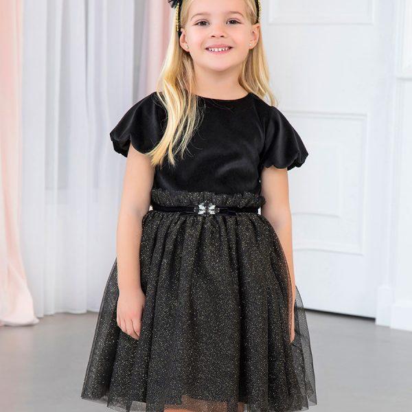 Šaty s nariasenou tylovou sukňou so zlatými bodkami Abel & Lula by Mayoral čierne | Welcomebaby.sk