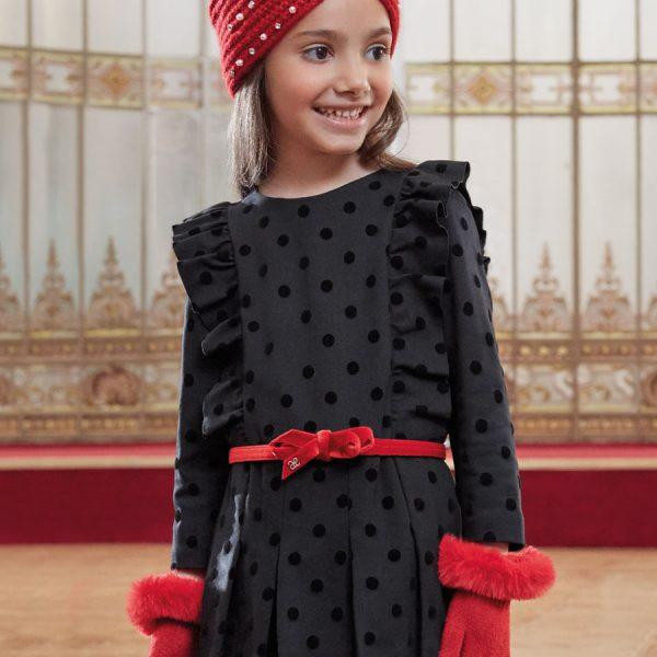 Čierne bodkované šaty s volánom Abel & Lula by Mayoral | Welcomebaby.sk