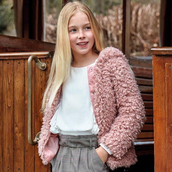 Dievčenská kožušinová bunda Mayoral ružová | Welcomebaby.sk
