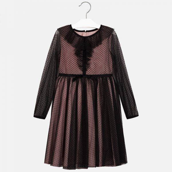 Bodkované šaty s volánom Mayoral čierne | Welcomebaby.sk
