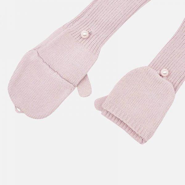 Čiapka, rukavice, nákrčník - dievčenský set Mayoral ružový | Welcomebaby.sk